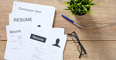 Resume on desk