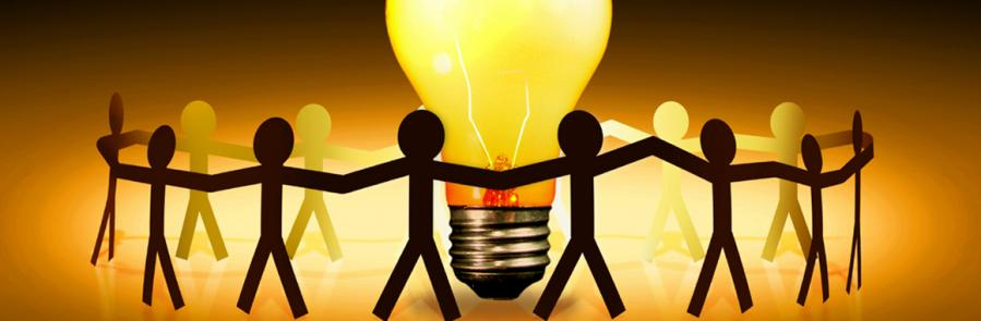 People around light bulb